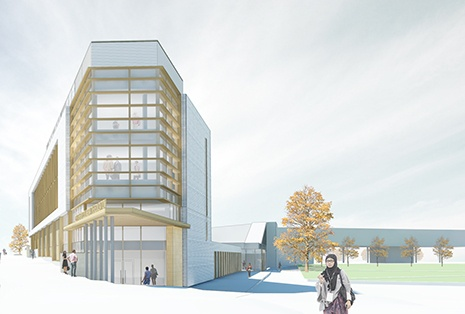 Rendering of the Centre for Collaborative Education at Durham College