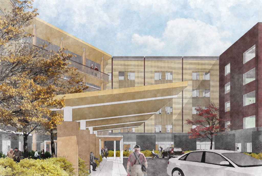 Rendering of people walking through the landscaped frontage of the long term care home