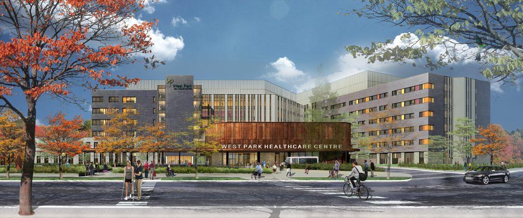 Hospital front entrance rendering